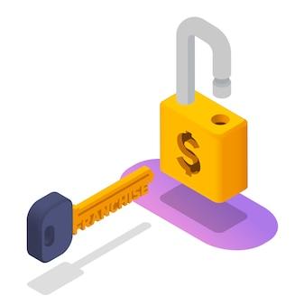 Illustrazione di serratura e chiave