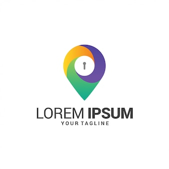 Lock and location logo template