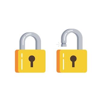 Lock open and lock closed. concept password, blocking, security.