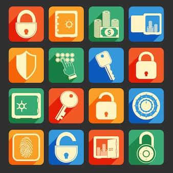 Lock safe icons set