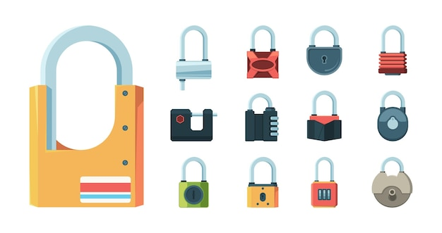 Lock set. padlock key prison secret code door symbols