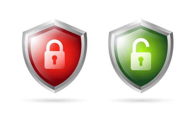 Lock and unlock shield icon