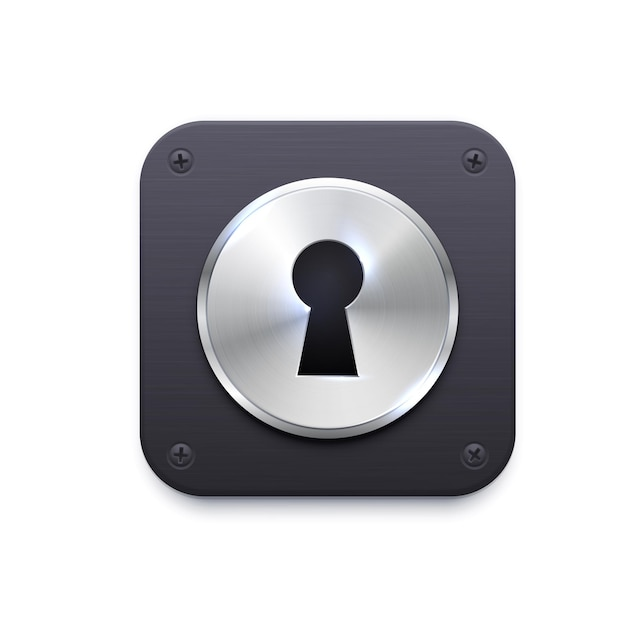 Lock with keyhole app icon. security and protection application, secret data encryption, computer files and private information password access app user interface icon with metal lock and keyhole