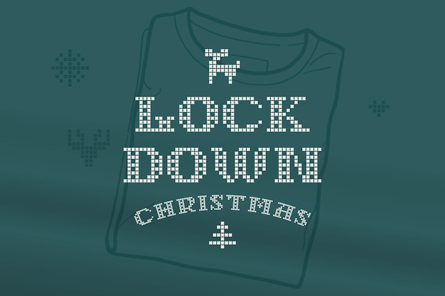 Lockdown christmas lettering is made of thick round knits flat style sign with set of bonus icons