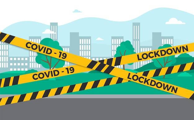 Карантин изолентой городского барьера. пандемия коронавируса закрывает страны. lockdown желтый знак. заблокируйте концепцию вспышки вируса, оставайтесь дома векторным символом.