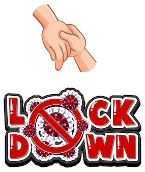 白い背景の上の握手からウイルスが広がるロックダウンフォントデザイン