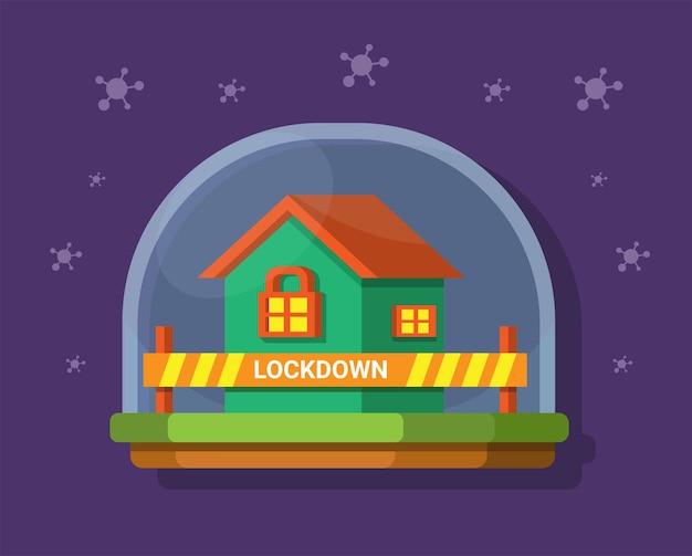 ウイルスパンデミックシンボルイラストベクトルからの安全で家にロックダウン滞在