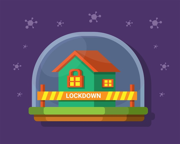 Lockdown stay at home with safety from virus pandemic symbol illustration vector