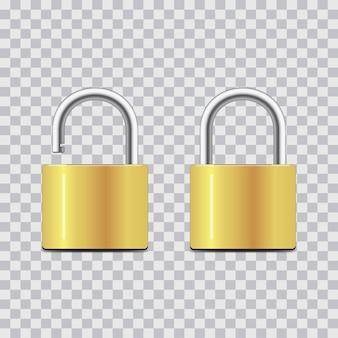 Запертый и открытый навесной замок. реалистичный набор золотых замков на прозрачном фоне. концепция безопасности.
