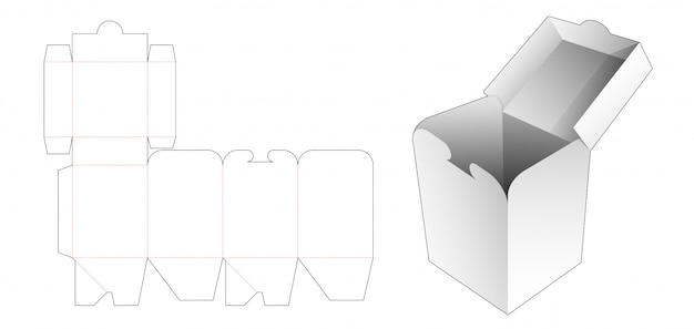 Locked flip snack box die cut template