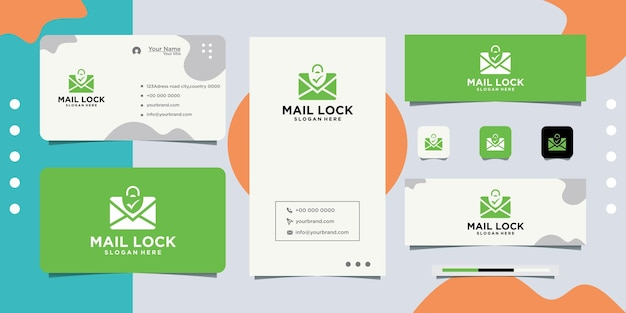 Locked letter envelope design logo with padlock and business card