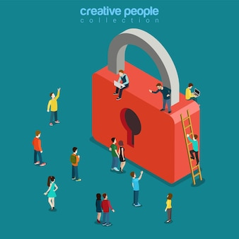 Locked lock and micro young people flat isometric