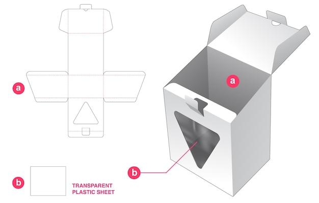 ロックされたポイントボックスと透明なプラスチックシートダイカットテンプレート付きの丸い三角形のウィンドウ