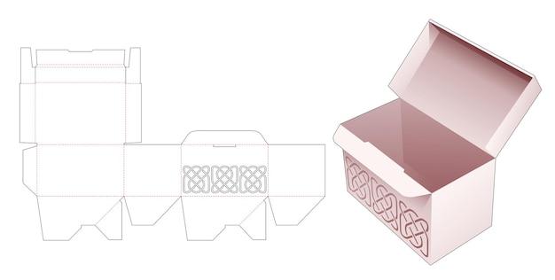라인 스텐실 다이 컷 템플릿이있는 잠긴 포인트 박스