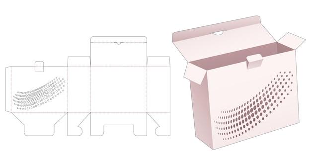 스텐실 하프 톤 도트 다이 컷 템플릿이있는 잠긴 포인트 박스