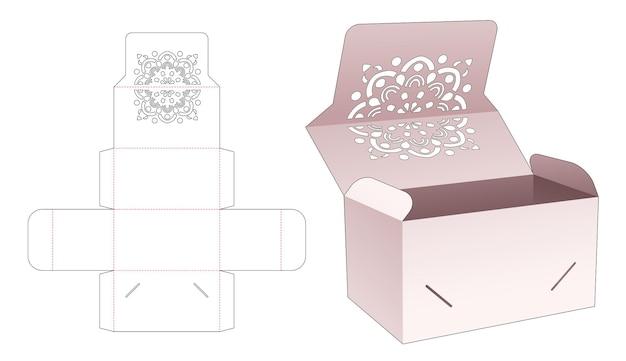 만다라 스텐실 및 플립 다이 컷 템플릿이있는 잠긴 포인트 플립 박스