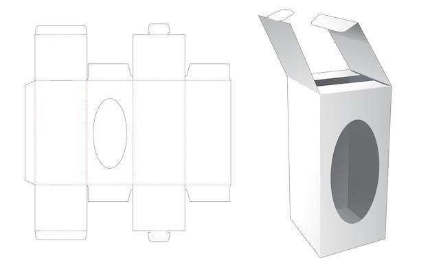 Locked point flip box with window die cut template