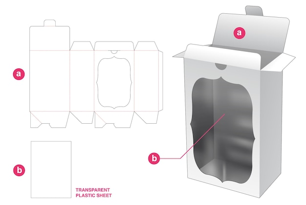 透明なプラスチックシートダイカットテンプレートを備えたロックポイントフリップ包装ボックスとウィンドウ