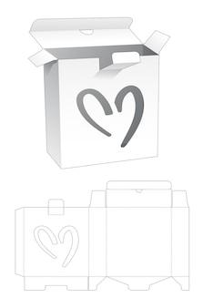 하트 윈도우 다이 컷 템플릿이있는 잠긴 포인트 주석 상자
