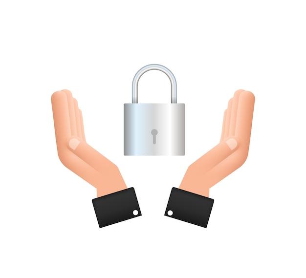 손에 잠긴 현실적인 자물쇠. 보안 개념입니다. 안전 및 개인 정보 보호를 위한 금속 잠금 장치.