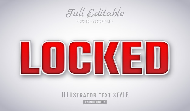 Locked red embossed text style effect premium