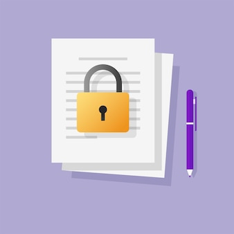 Locked restricted access to information text file or document concept flat cartoon