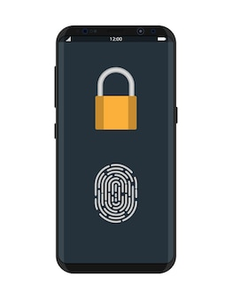 Locked smartphone with padlock and fingerprint