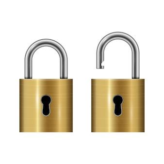 Locked and unlocked padlock isolated on white background