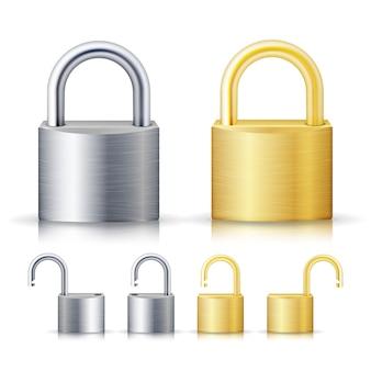 Locked and unlocked padlock
