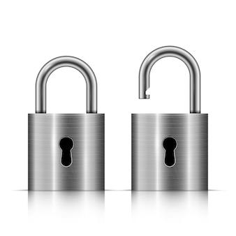 Locked and unlocked silver padlock isolated on white background