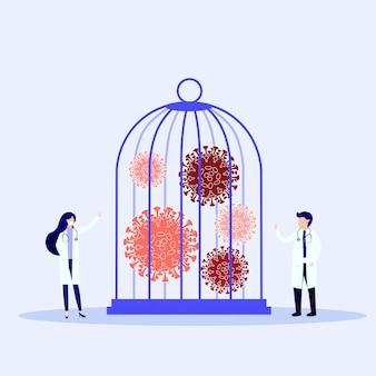 Locked virus pathogen in cage illustration