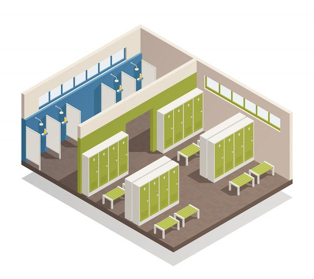 Locker dressing room isometric