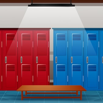 Locker room of gym or school sport changing room