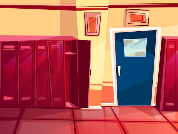 Locker room illustration of gym or school sport changing room.