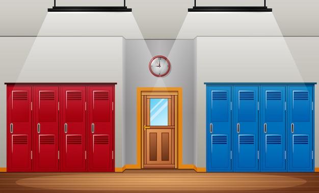 Раздевалка спортзала или школьной спортивной раздевалки и входная дверь