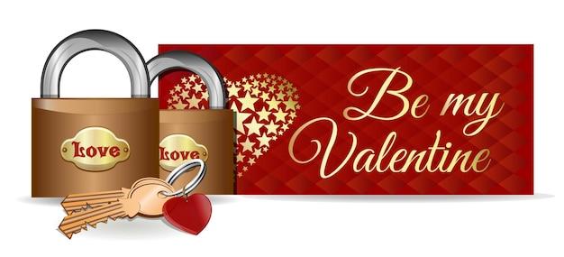 Замки на фоне приветствия. пара замков, ключей и брелок в форме сердца. будь моим валентином. день святого валентина