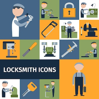 Locksmith icons set