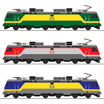 Locomotive on diesel as railway train set