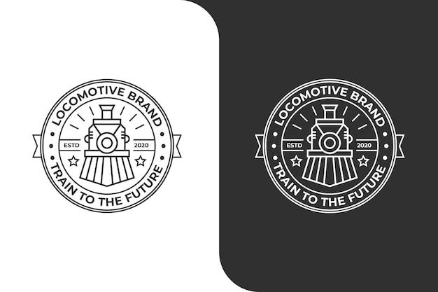 Локомотив поезд винтаж монолайн логотип