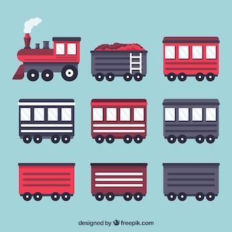 ワゴンのコレクションを持つ機関車