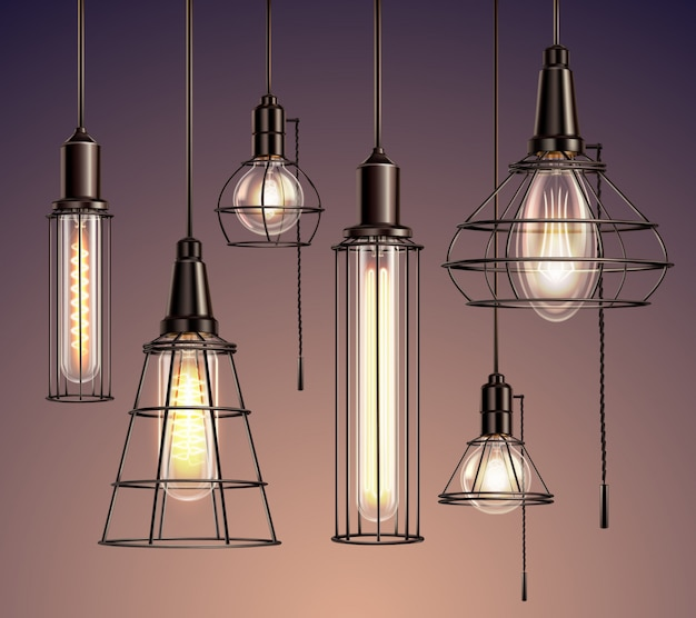 Loft edison vintage metal wire cage hanging  soft glowing light bulbs various shapes realistic set