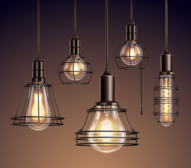 Loft edison vintage metal wire frame hanging  lamps with soft glowing light bulbs realistic set