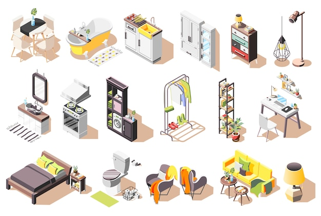 Loft interior icons collection of isolated images with modern style furniture for living rooms and bathroom