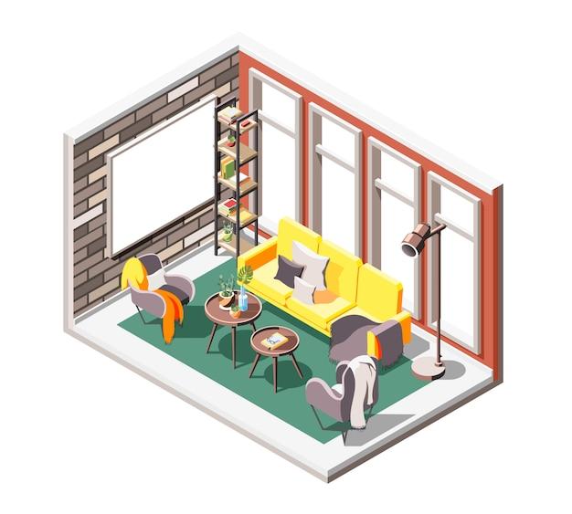 ソフトシートの窓とプロジェクションスクリーンがある屋内応接室環境のロフトインテリア等尺性組成物
