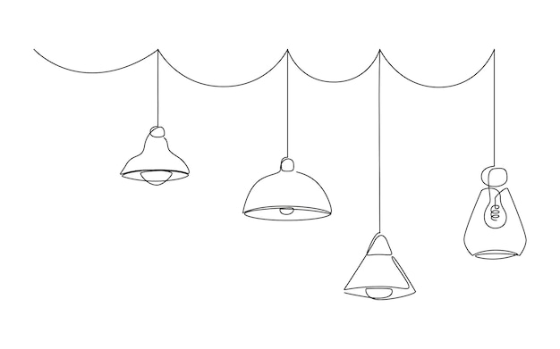 Loft lamps collection and lampshades in one line drawing.  hanging modern chandelier
