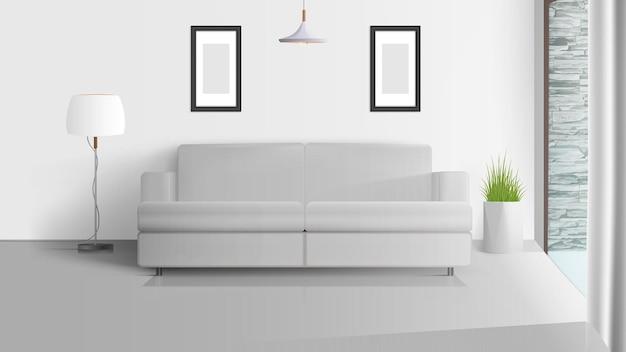 로프트 스타일의 인테리어. 밝은 방. 화이트 소파, 흰색 갓이있는 플로어 램프, 잔디 냄비. 삽화.