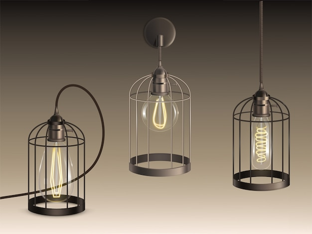 Loft style lamps with different shape incandescent bulbs heated filaments