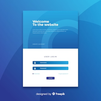 Log-in blue landing page