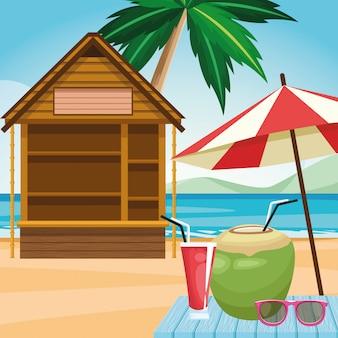 丸太小屋とパラソル、ビーチでココナッツドリンクとサングラス