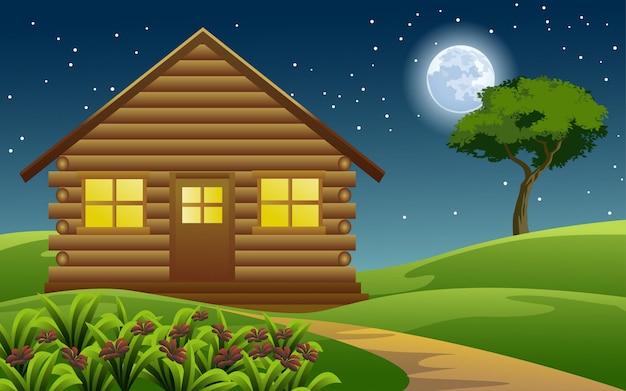 Бревенчатый домик ночью